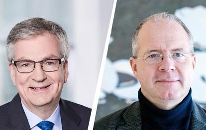Martin Daum, Vorsitzender des Vorstands der Daimler Truck AG und Mitglied des Vorstands der Daimler AG (links) mit Martin Lundstedt, Präsident und CEO der Volvo Group