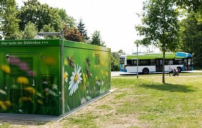 Elektrobus-Ladestation Münster.