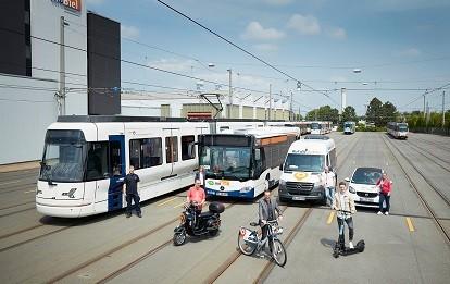 Von Alma bis TIER: Sharingangebote ergänzen den klassischen Linienverkehr mit Bus und Stadtbahn in Bielefeld.