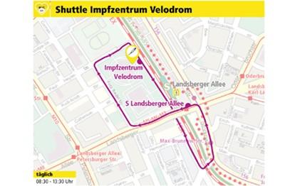 Wer in Berlin zur Corona-Impfung fährt, kann sich auf die öffentlichen Verkehrsmittel verlassen. Auch das fünfte Berliner Impfzentrum, das am Mittwoch, 17. Februar 2021, im Velodrom an der Landsberger Allee in Prenzlauer Berg eröffnet wird, ist mit den Straßenbahnen der Berliner Verkehrsbetriebe BVG (Linien M5, M6 und M8), der Buslinie 156 und mit den Ringbahnlinien der S-Bahn bestens erreichbar.