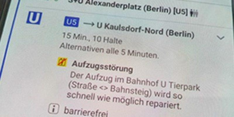 Fahrgäste, die auf einen der aktuell 183 BVG-Aufzüge angewiesen sind, finden Störungsmeldungen jetzt auch direkt in der Fahrinfo. Und das ab sofort in Echtzeit! Ein wichtiger Service nicht nur für Menschen, die mit einem Rollstuhl unterwegs sind.