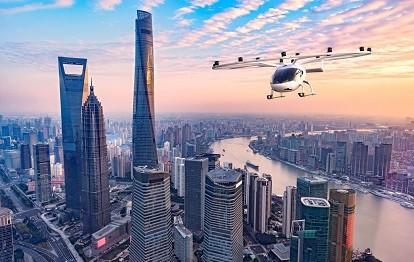 VoloCity fliegt über Shanghai (Rendering: Volocopter)