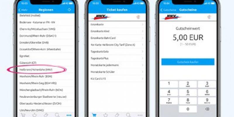 Fahrgäste im Verkehrsverbund Heilbronner - Hohenloher - Haller Nahverkehr (HNV) können ihre ÖPNV-Tickets über die HNV App jetzt auch digital kaufen: per Start-Ziel-Suche aus der Auskunft heraus oder direkt über den Ticketkatalog.